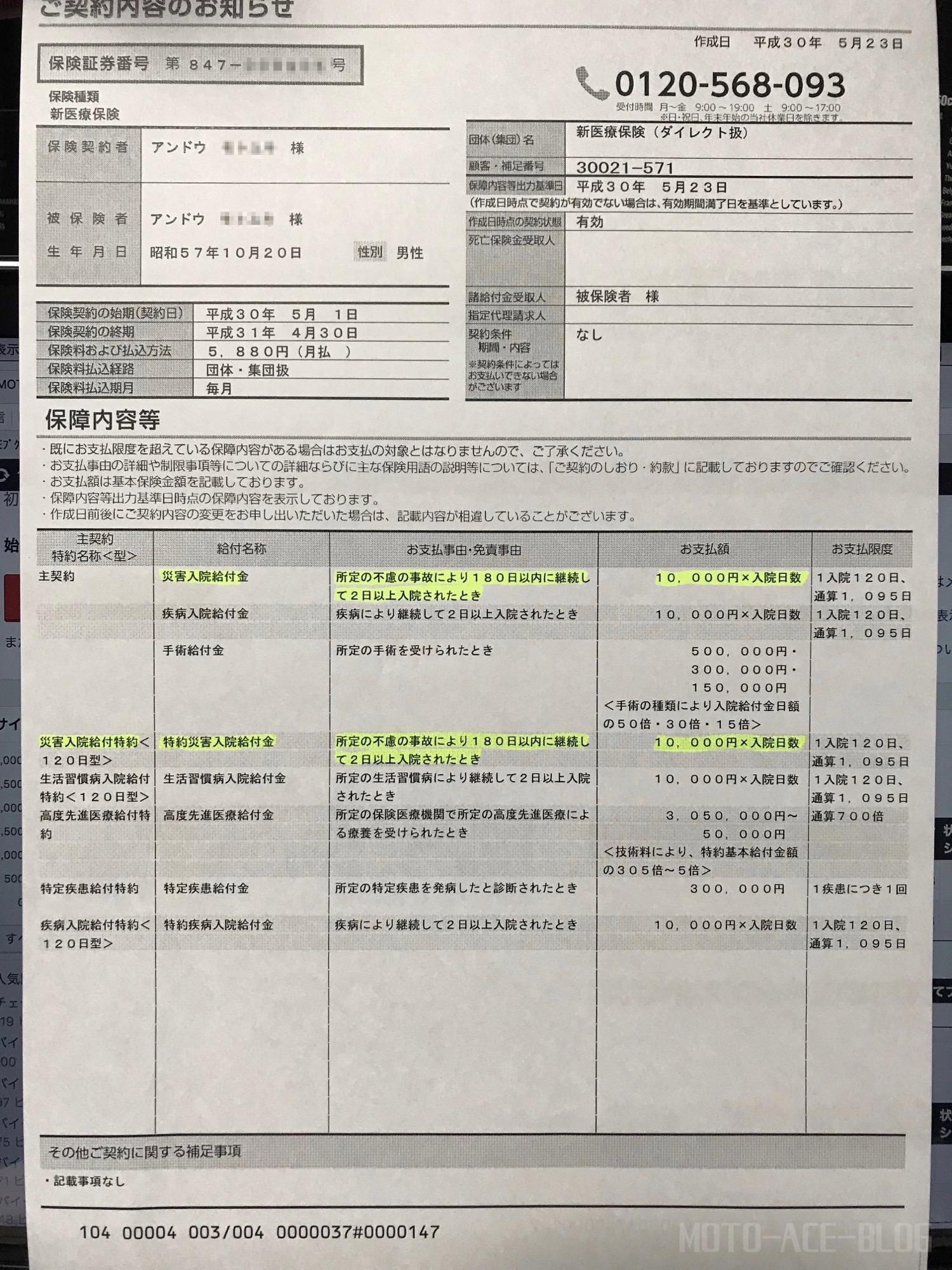 アクサ生命医療保険の契約書