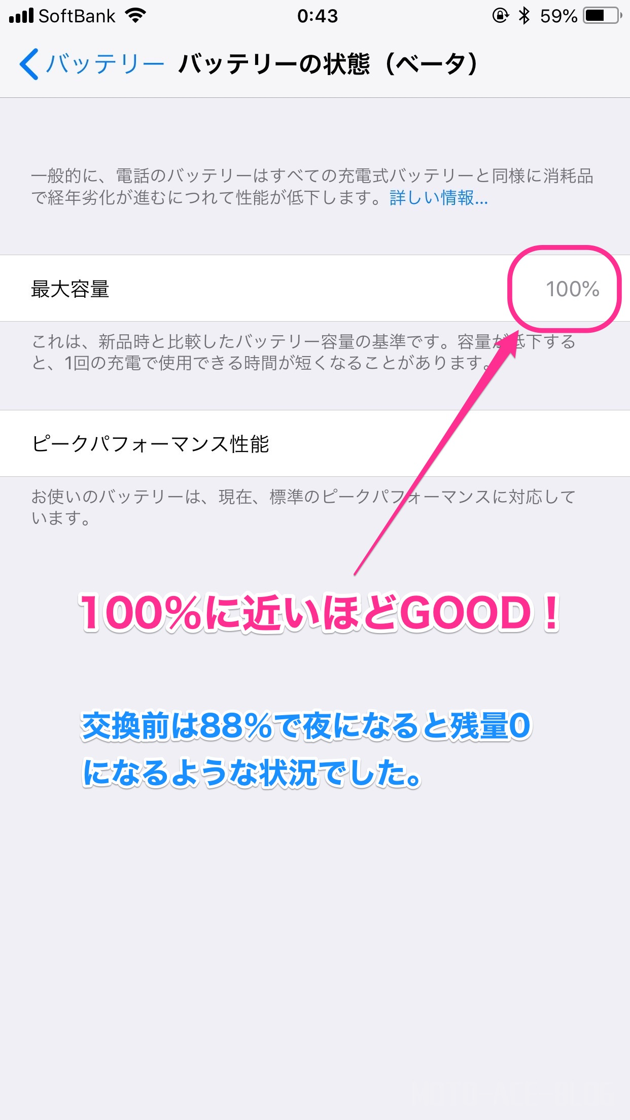 iPhoneバッテリーパフォーマンスの確認方法